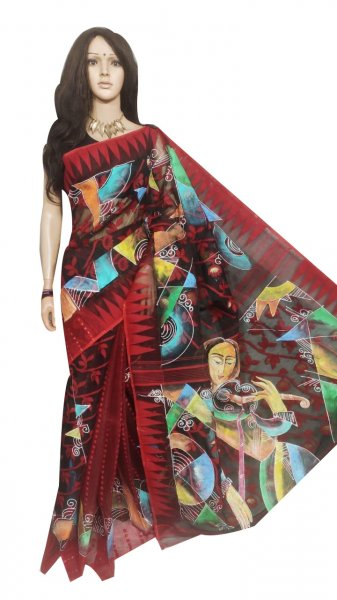 Multi colored hand painted full body work jamdani silk saree