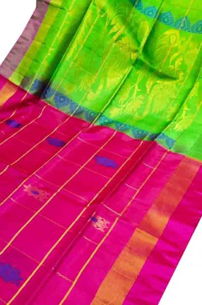 Pink and green uppada all over checks, rich pallu saree