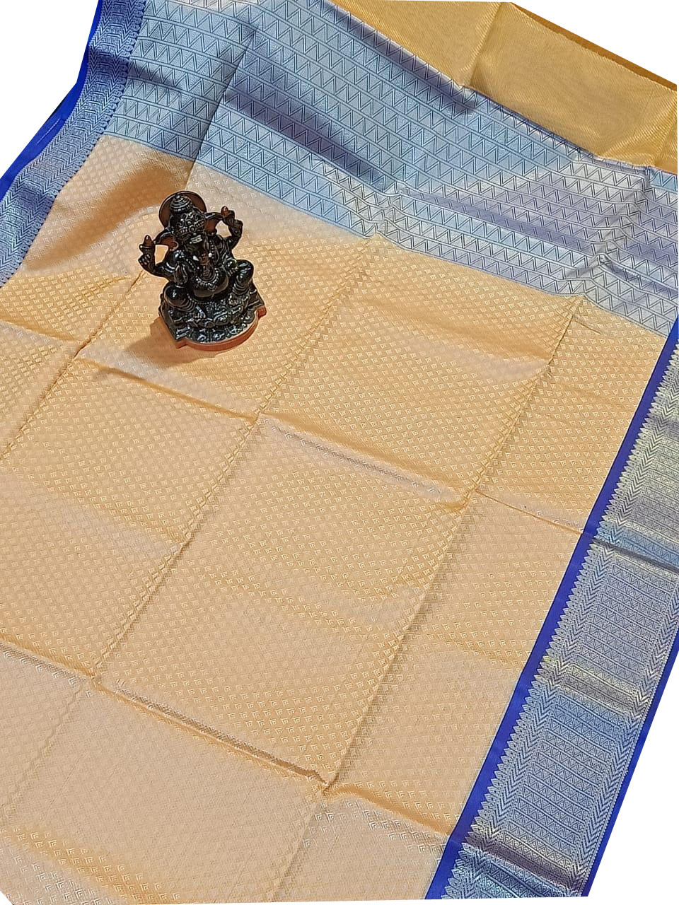 Cream and Baby blue kora silk saree with kuppatam border