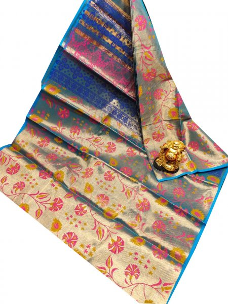 Blue, pink and yellow uppada tissue cotton print saree