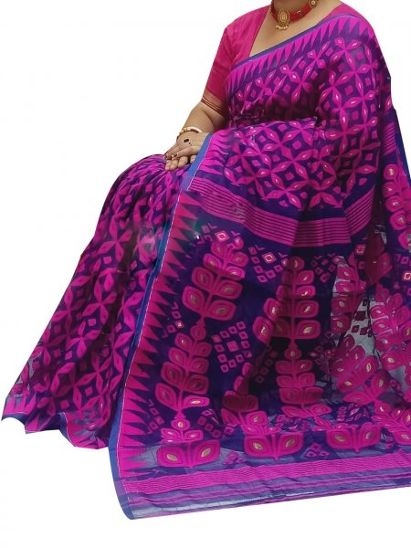 Pink and Blue dhakai jamdani high quality saree