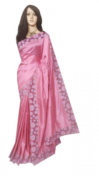 Pink pure silk cut work saree with blouse piece