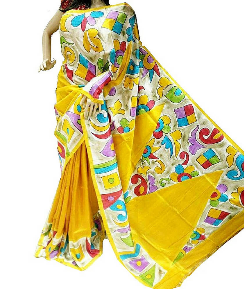 Elegant Yellow Bishnupuri Silk Saree