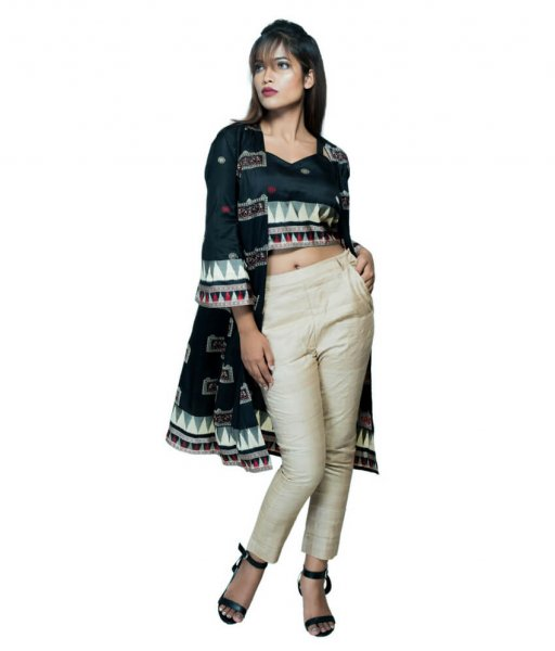 Ankle-length Tussar Ikat Silk Pant