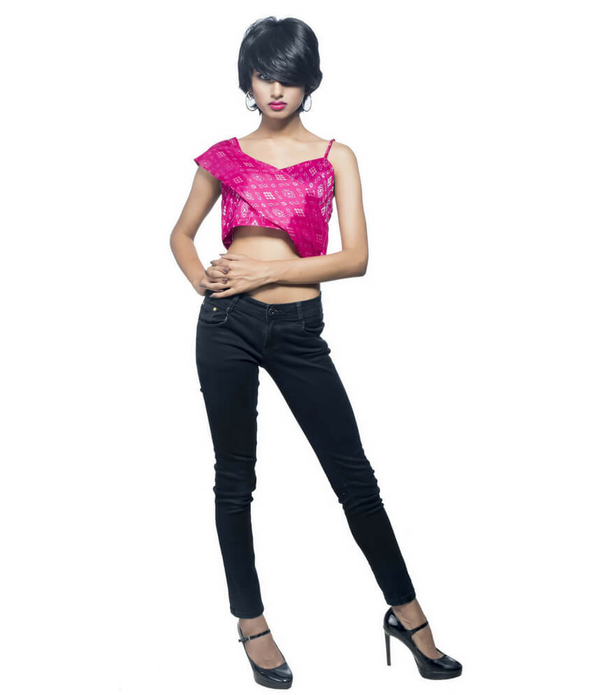 Flared Ikat Bandha Crop Top