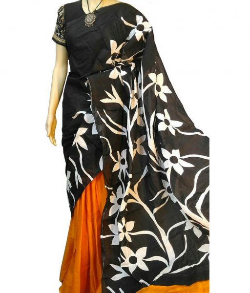 Floral Hand Painted Bishnupuri Silk Saree