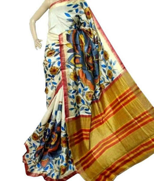 Floral Painted Silk Saree