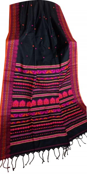 Black khadi jamdani full hand weaving cotton saree