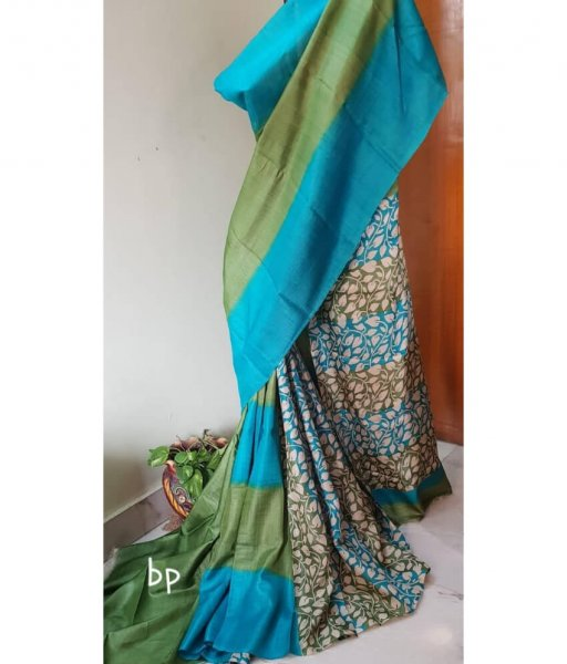 Green & Blue Tussar Silk Saree