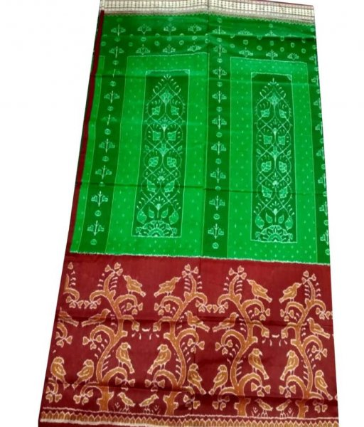 Green & Maroon Ikat Silk Saree