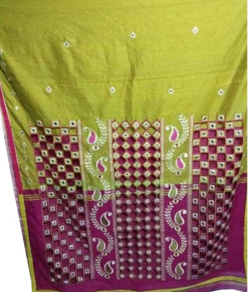 Green & Purple Cotton Silk Cut Work Saree
