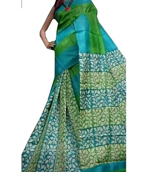 Green & Sky Bishnupuri Silk Saree