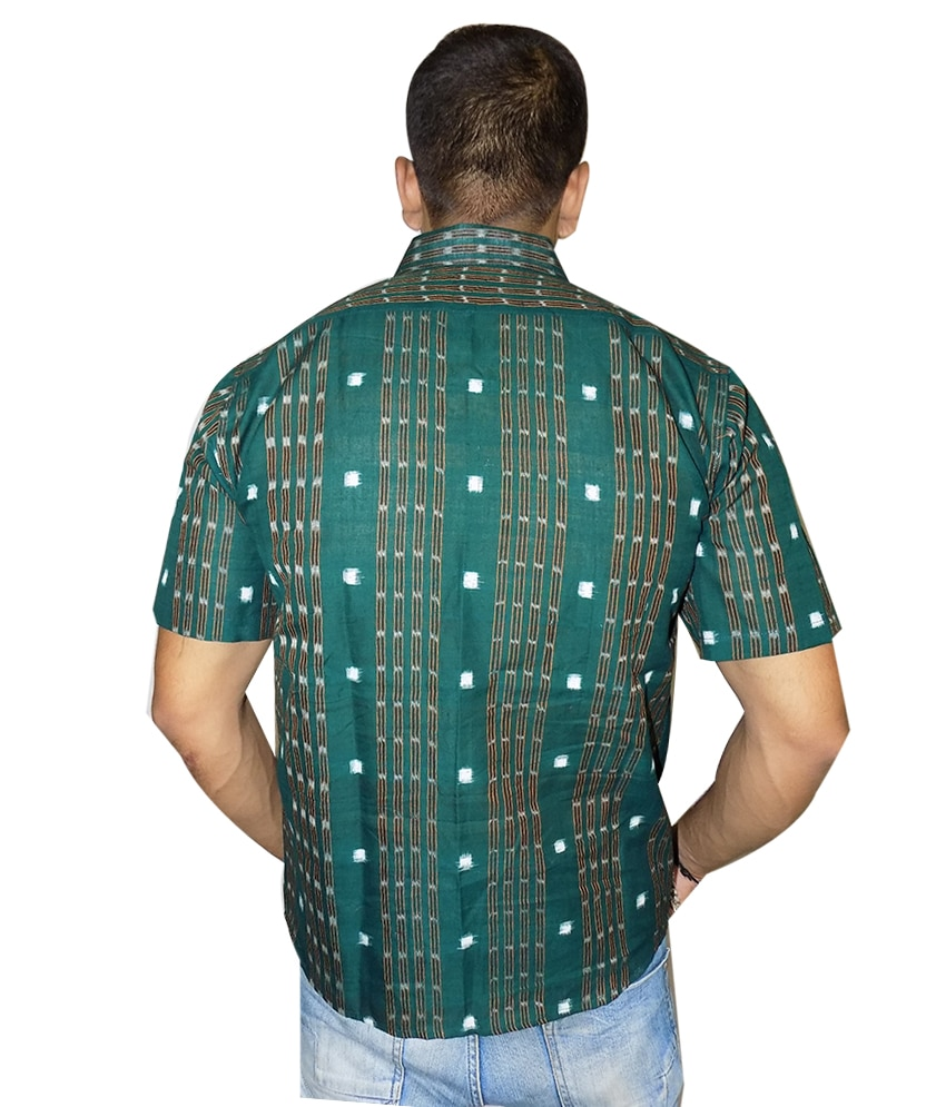 Green Cotton Sambalpuri Shirt
