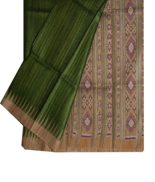 Green Ghicha Tussar Silk Saree