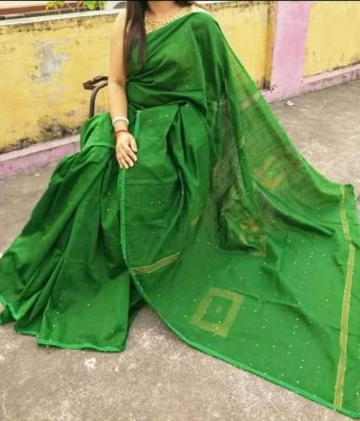 Green Handloom Sequence Saree