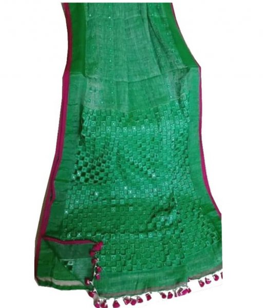 Green Linen Cut Work Saree