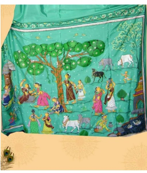 Green Pattachitra Saree