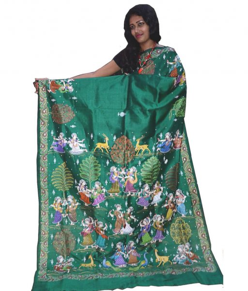 Green Pattachitra Silk Saree