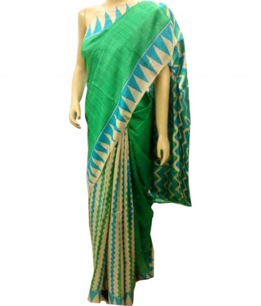 Green Zari Tussar Silk Saree
