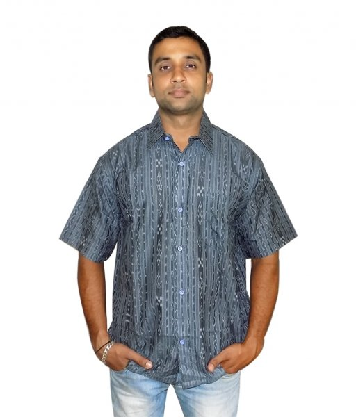 Grey Cotton SambalPuri Shirt