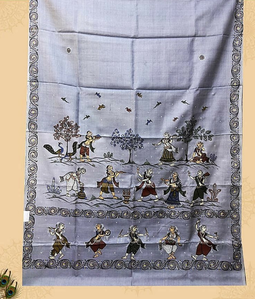 Grey Customized Pattachitra Saree