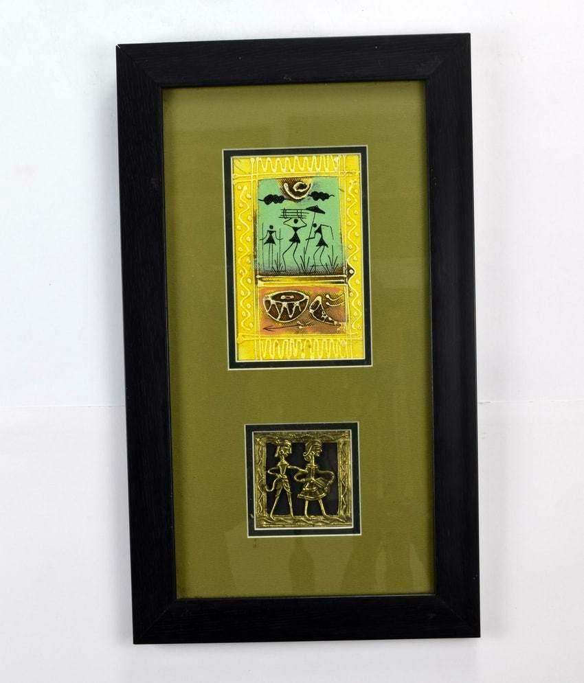 Hand Crafted Tribal Painting With Dhokra Work