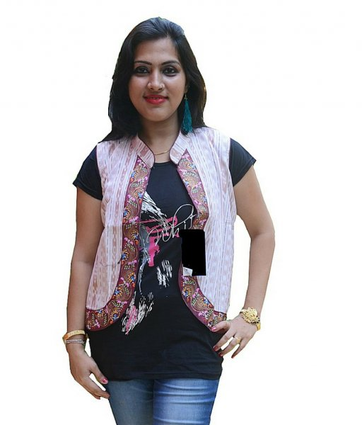 Ikat Pattachitra Hand Painted Half Jacket
