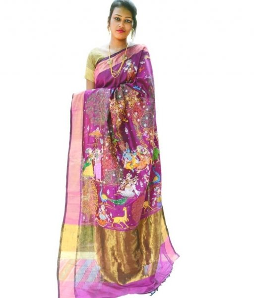 Kunja Rasa Hand painted Silk Saree