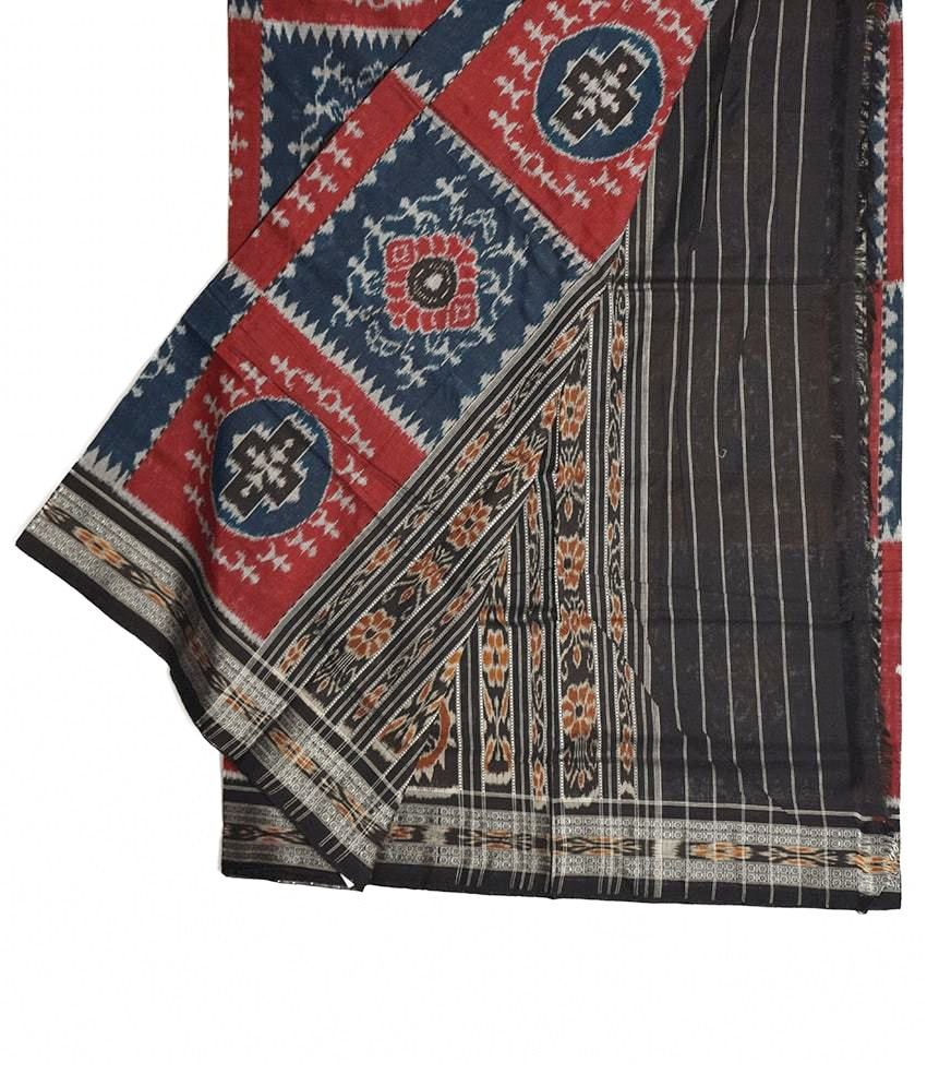Red & Black Tribal Sambalpuri Saree
