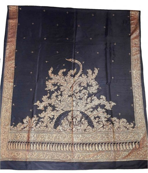 Black Silk Patachitra Saree