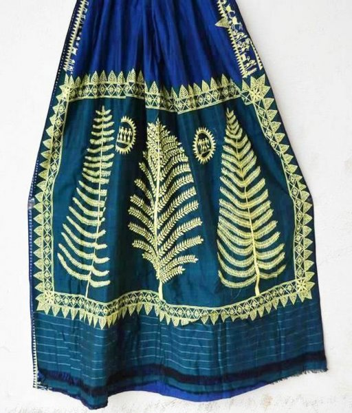 Silk Saree With Soura Painting