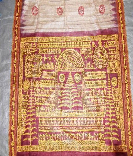 Tassar Saree With Soura Painting