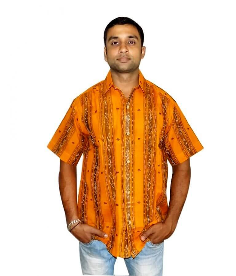 Orange Cotton Sambalpuri Shirt