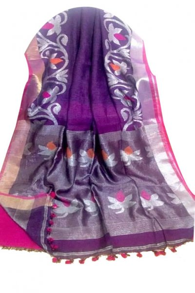 Deep blue and pink linen jamdani saree with blouse piece