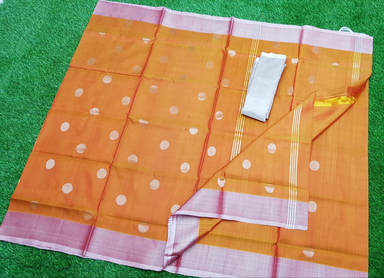 Orange uppada pure soft pattu with silver border saree