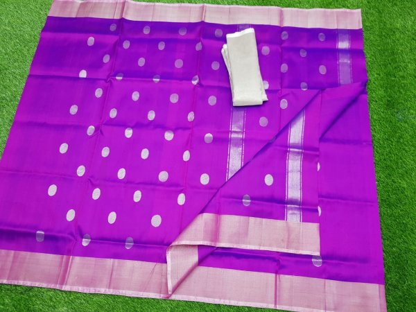 Indigo Blue uppada pure soft pattu with silver border saree
