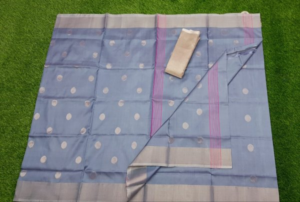 Gray uppada pure soft pattu with silver border saree