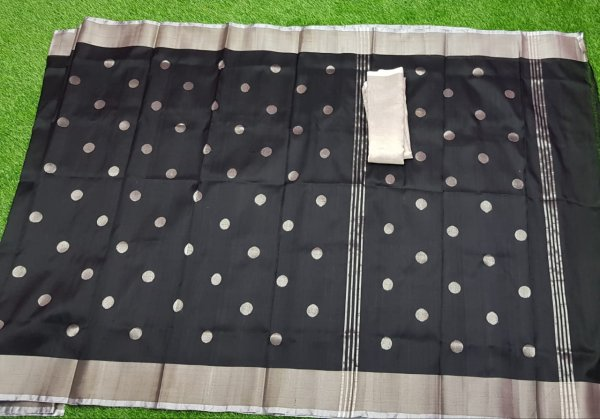 Black uppada pure soft pattu with silver border saree