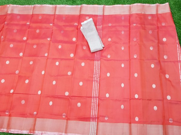 Red uppada pure soft pattu with silver border saree