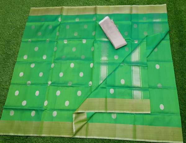 Green uppada pure soft pattu with silver border saree