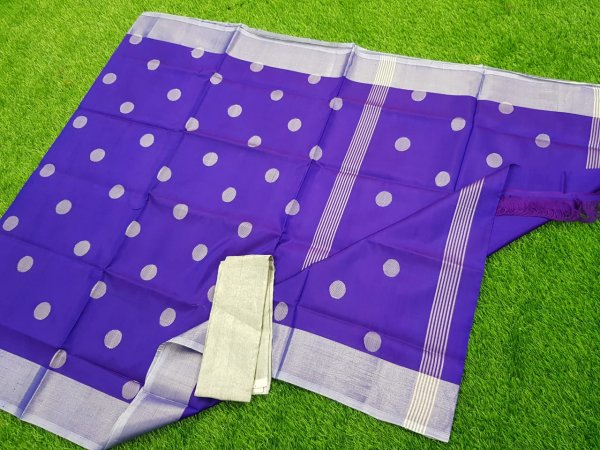 Blue uppada pure soft pattu with silver border saree