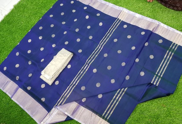 Deep Blue uppada pure soft pattu with silver border saree