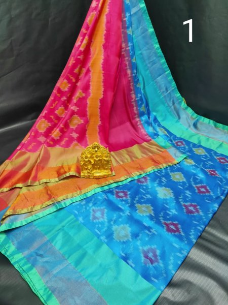 Blue and Rose pink Pochampalli soft silk saree with plain blouse piece