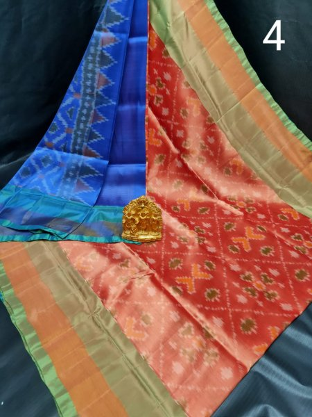 Blue and Red Pochampalli soft silk saree with plain blouse piece