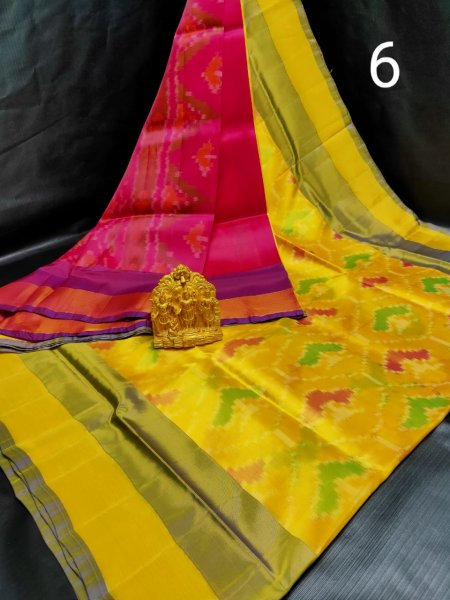 Yellow and Rose pink Pochampalli soft silk saree with plain blouse piece