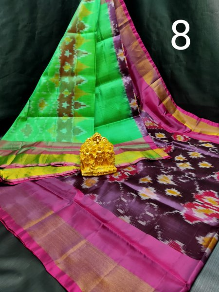 Green and Brown Pochampalli soft silk saree with plain blouse piece