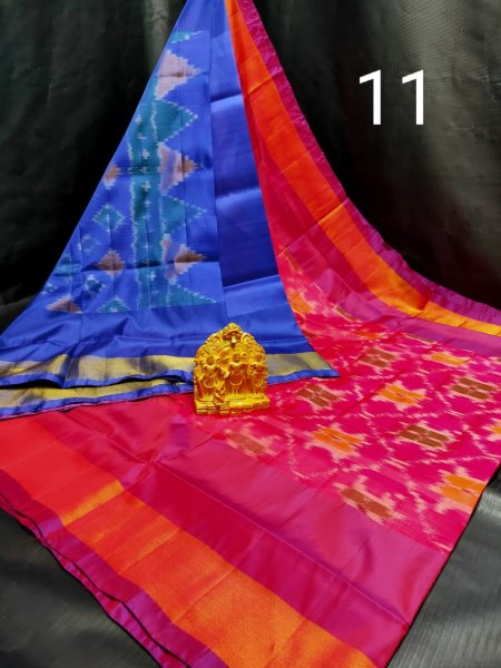 Rose pink and Blue Pochampalli soft silk saree with blouse piece