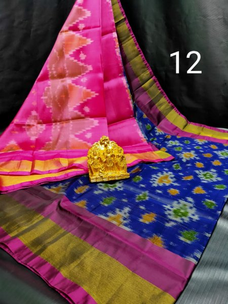 Pink and Blue Pochampalli soft silk saree with blouse piece