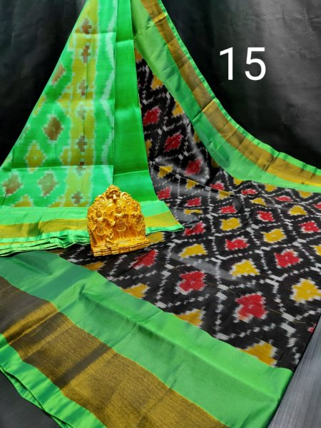 Black and Green Pochampalli soft silk saree with plain blouse piece