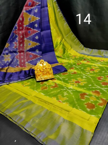 Lime green and Deep blue  Pochampalli soft silk saree with plain blouse piece